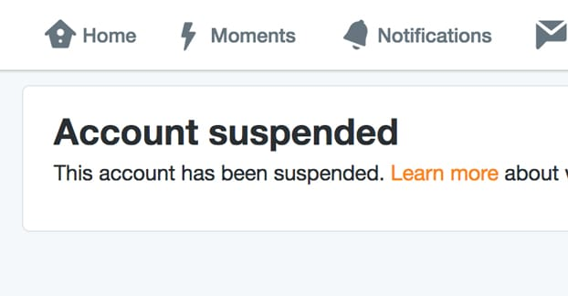 Account Suspended on Twitter