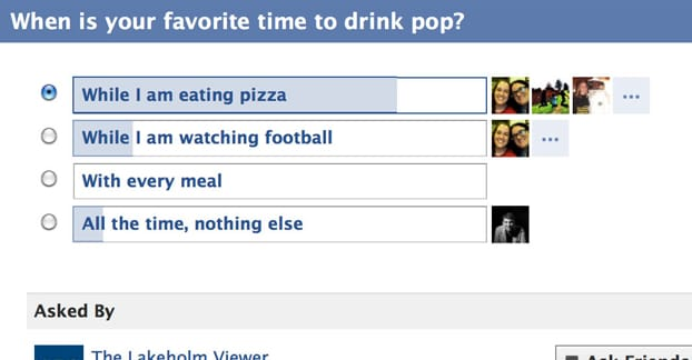 Example 2 of Facebook Poll