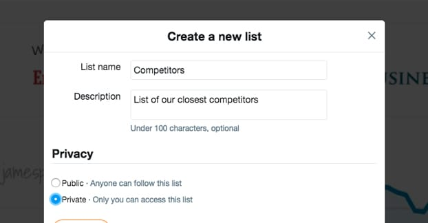 Creating a Competitors List