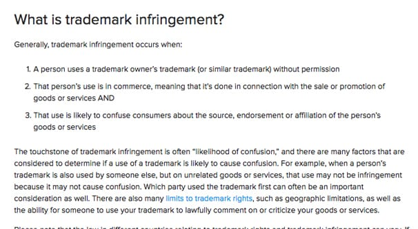 Instagram on Trademark Infringement