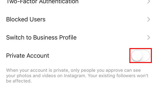 Private Instagram Account Setting