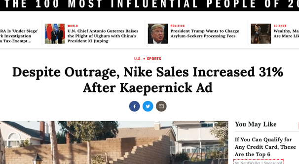 Nike Outrage Increases Sales
